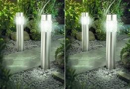 4er Set Solarlampe LED Solarleuchte Wegeleuchte XXL 56cm Edelstahl mit Bewegungsmelder - sehr hochwertig verarbeite Solarleuchte Edelstahl mit Bewegungsmelder - Außenleuchte mit Bewegungsmelder - Wegeleuchte Edelstahl mit Bewegungsmelder und super brite LEDs -
