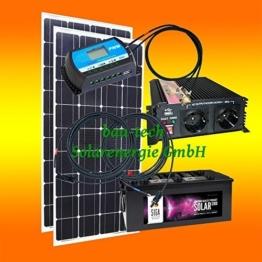 260 Watt Inselanlage, 12 Volt Komplett SET mit Spannungswandler mit Batterie -